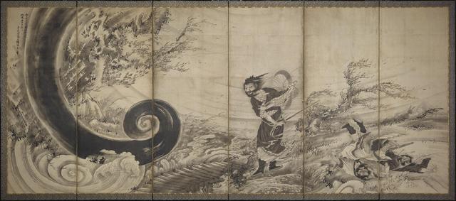 画像: 曾我蕭白《風仙図屏風》宝暦14年/明和元年(1764年)頃155.8cm x  364 cm六曲一隻、紙本墨画Fenollosa-Weld Collection, 11.4510 Photograph © Museum of Fine Arts, Boston
