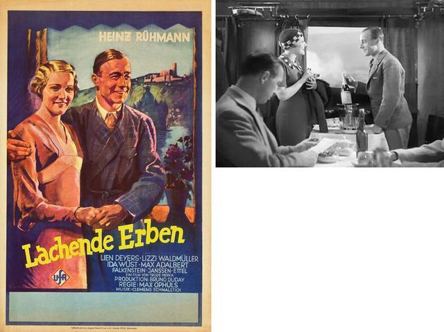 画像: 『笑う相続人』のポスター。右は列車で商売敵が出会うシーン。ここから二人の恋が始まる。