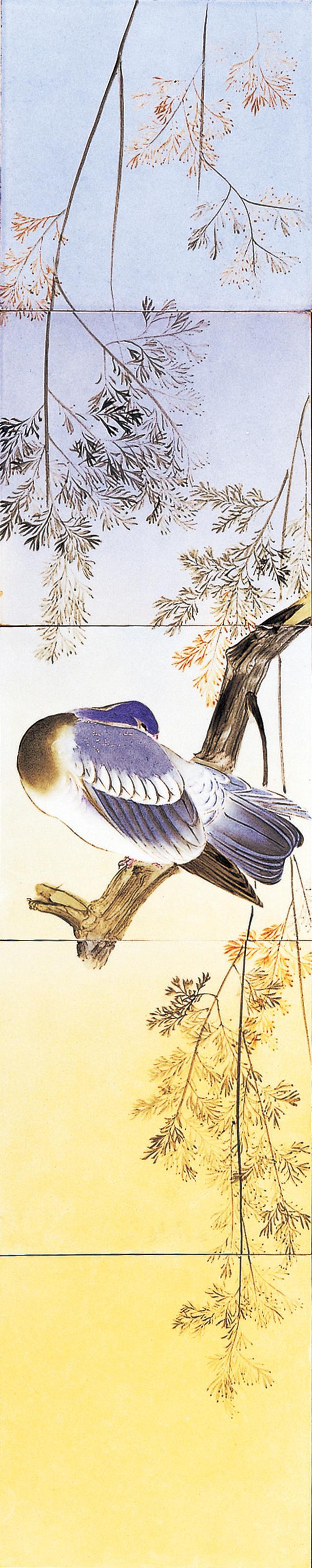 画像: ゴットフリート・ワグネル 《釉下彩鳥樹図陶板》 明治23~29年 (1890~1896) 陶器、釉下彩 信楽窯業技術試験場