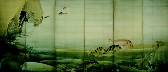 画像: 都路華香 《水底游魚》明治34年(1901)絹本着色京都国立近代美術館(左隻)