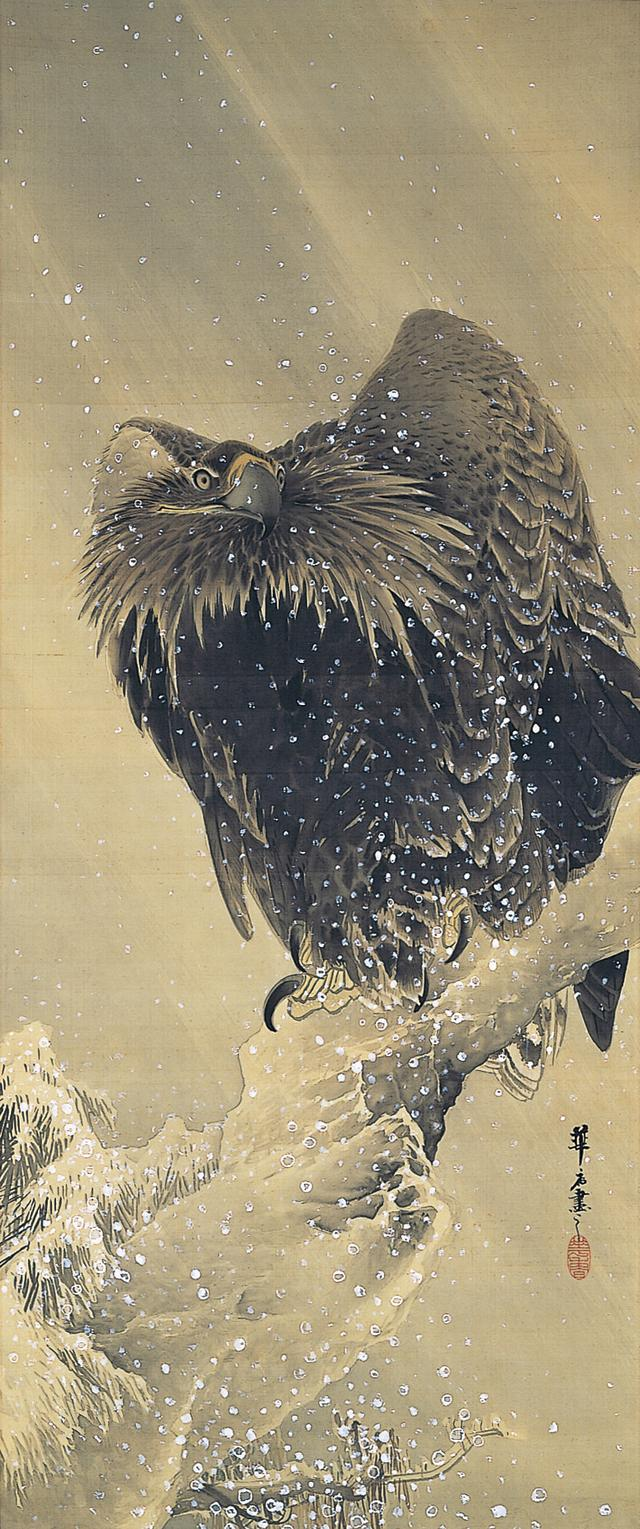 画像: 都路華香《雪中鷲図》明治34年(1901)絹本着色