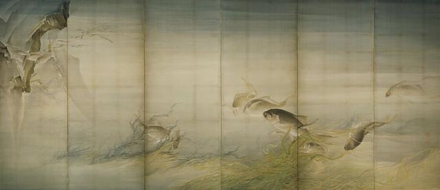 画像: 都路華香 《水底游魚》明治34年(1901)絹本着色京都国立近代美術館(右隻)