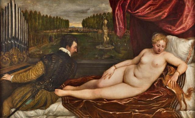 画像: ティツィアーノ・ヴェチェッリオ《音楽にくつろぐヴィーナス》 1550 年頃 マドリード、プラド美術館蔵 © Museo Nacional del Prado