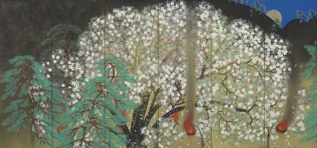 画像: 「夜桜」  1929年、横山大観、大倉集古館蔵(左隻) 東京展:5月8日~5月27日  京都展:6月8日~7月1日