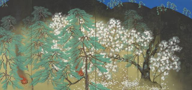 画像: 「夜桜」       1929年、横山大観、大倉集古館蔵(右隻)  東京展:5月8日~5月27日  京都展:6月8日~7月1日