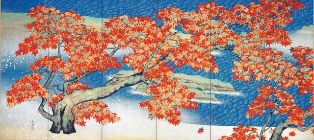 画像: 「紅葉」   1931年、横山大観、足立美術館蔵(左隻)  東京展:5月8日~5月27日  京都展:6月8日~7月1日
