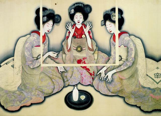 画像: 岡本神草《拳を打てる三人の舞妓の習作》大正9年(1920) 京都国立近代美術館蔵