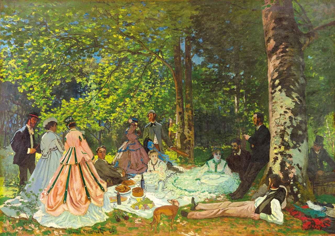 画像: クロード・モネ《草上の昼食》1866年油彩・カンヴァスⒸ The Pushkin State Museum of Fine Arts, Moscow.