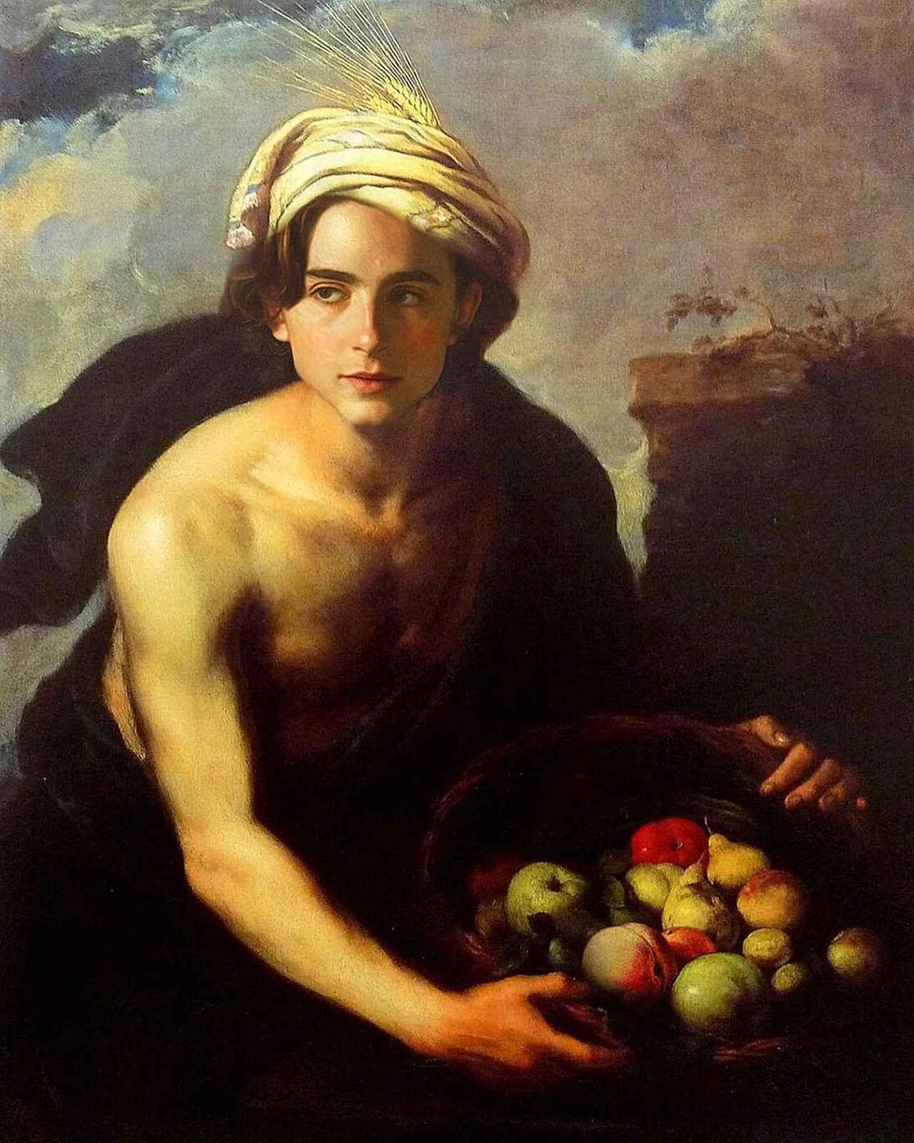 画像1: badly photoshopped timmyさんはInstagramを利用しています:「A Young Man with a Basket of Fruit (Personification of 'Summer'), 1640 by Bartolomé Esteban Murillo #chalametinart #timotheechalamet」 www.instagram.com