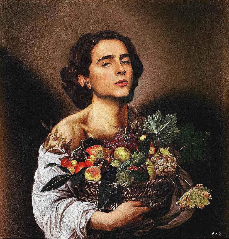 画像1: badly photoshopped timmyさんはInstagramを利用しています:「Boy with a Basket of Fruit, c.1593, by Michelangelo Merisi da Caravaggio #timotheechalamet #chalametinart」 www.instagram.com