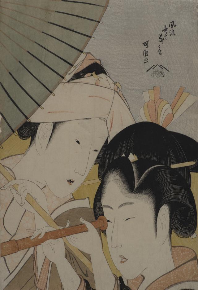 画像: 葛飾北斎「風流なくてなゝくせ 遠眼鏡」享和年間(1801〜04) 大判錦絵 (後期展示) ©︎Lee E . Dirks Collection