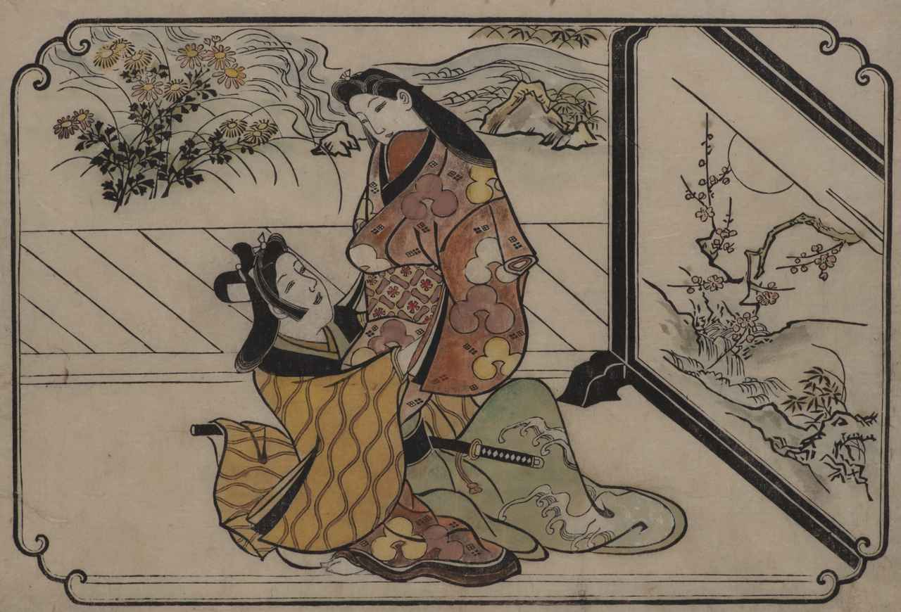 画像: 菱川師宣「衝立のかげ」 延宝後期〜天和期(1679〜84)頃 横大判墨摺筆彩(前期展示) ©︎Lee E . Dirks Collection
