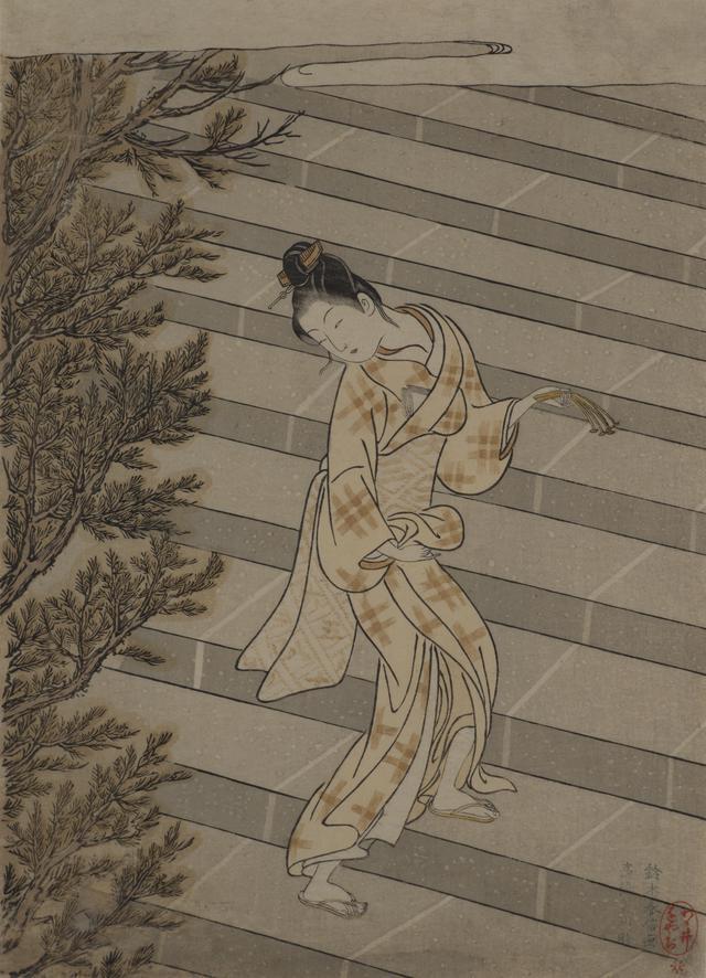画像: 鈴木春信「お百度参り」明和2年(1765) 中判錦絵 (後期展示) ©︎Lee E . Dirks Collection