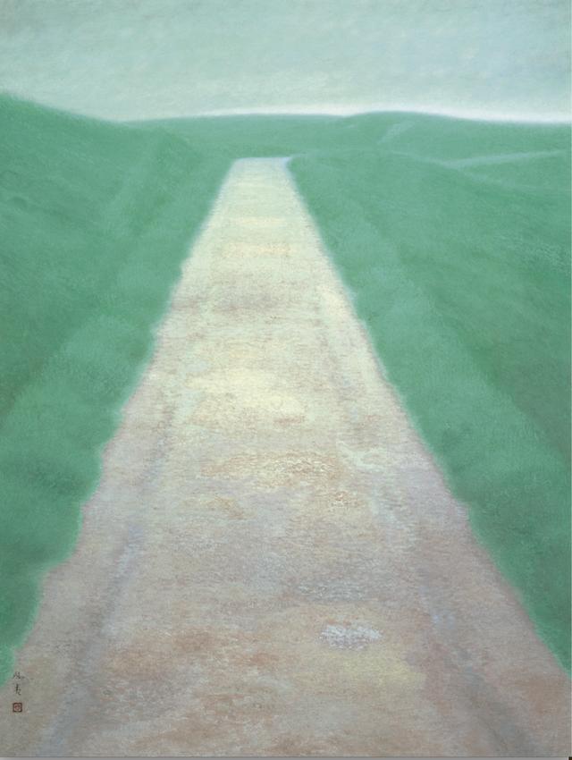 画像: 《道》東山魁夷 1950年 額装、絹本彩色 134.4×102.2cm 東京国立近代美術館蔵