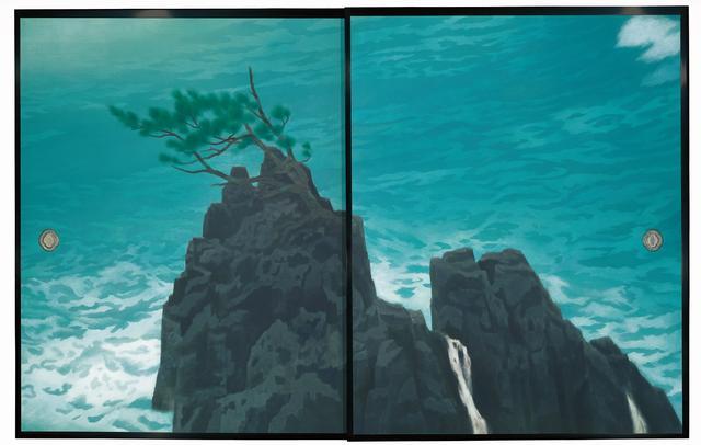 画像: 唐招提寺御影堂障壁画のうち《濤声》(部分)東山魁夷 1975年 襖、紙本彩色 178.4×279.0cm 唐招提寺蔵