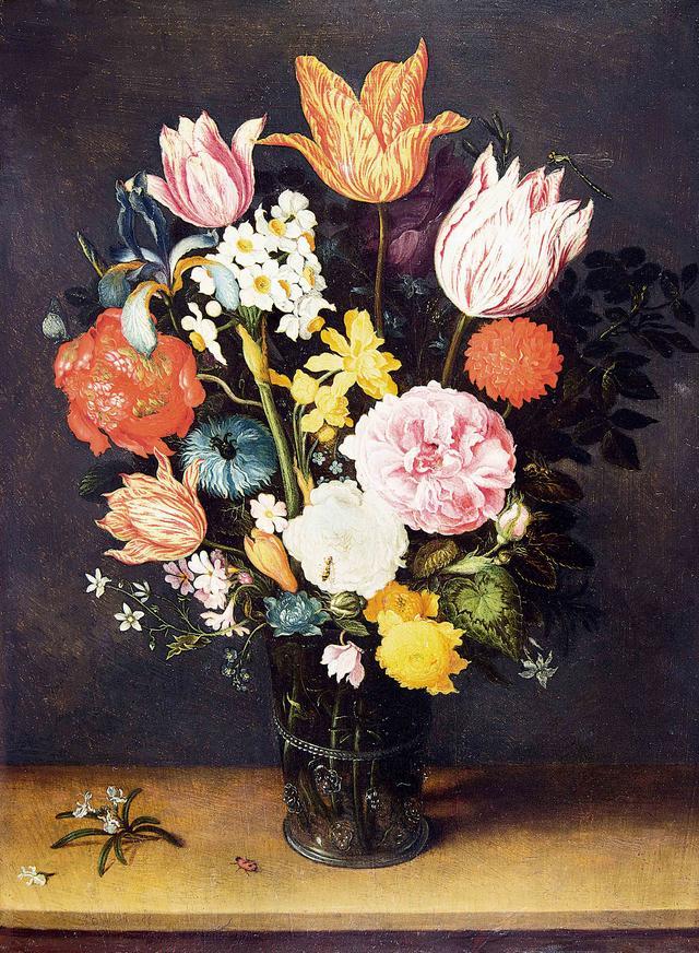 画像: ヤン・ブリューゲル1世 、ヤン・ブリューゲル2世《机上の花瓶に入ったチューリップと薔薇》 1615-1620年頃 Private Collection