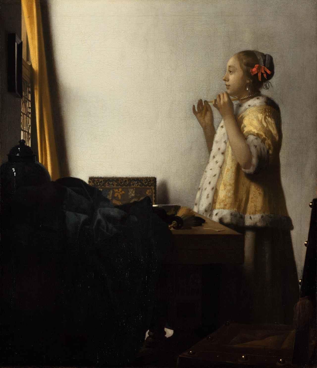 画像: ヨハネス・フェルメール《真珠の首飾りの女》1662-1665年頃 ベルリン国立美術館 © Staatliche Museen zu Berlin, Gemäldegalerie / Christoph Schmidt
