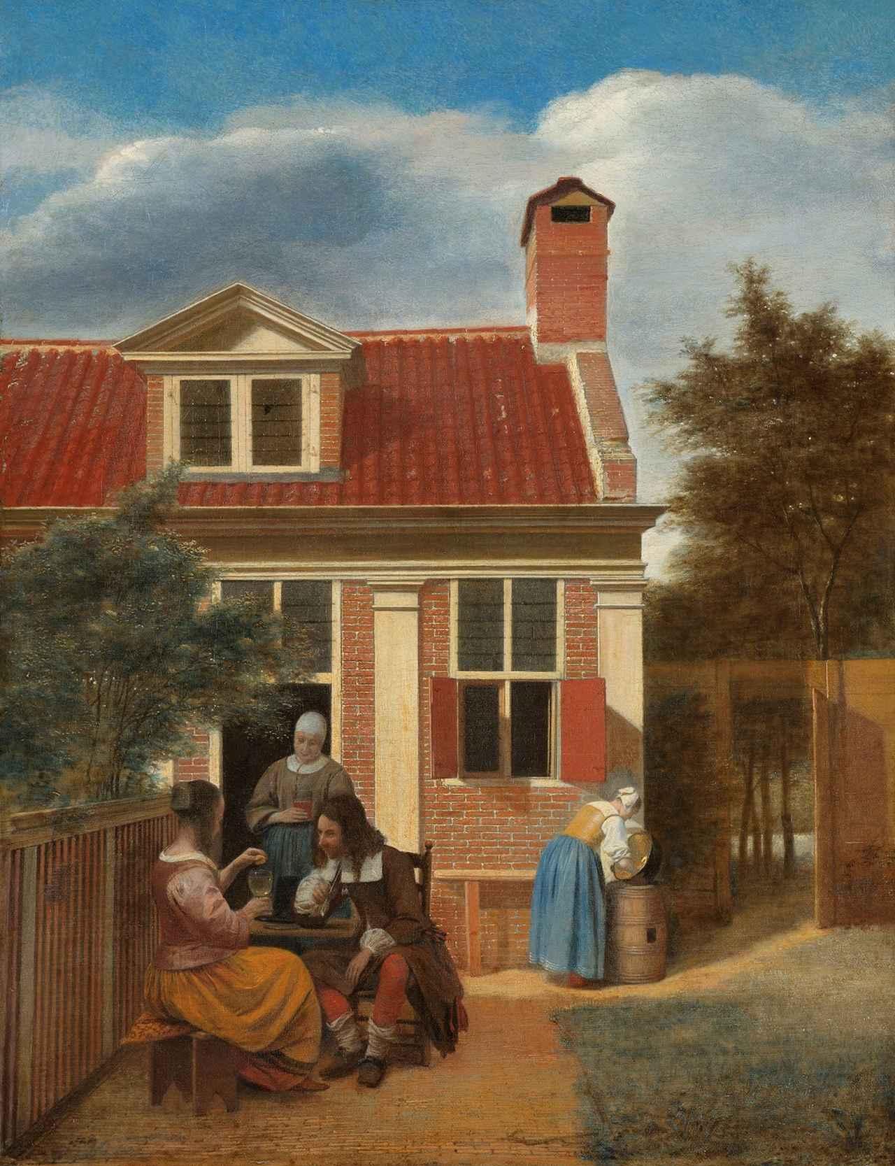 画像: ピーテル・デ・ホーホ《人の居る裏庭》1663-1665年頃 アムステルダム国立美術館 Rijksmuseum. On loan from the City of Amsterdam (A. van der Hoop Bequest)