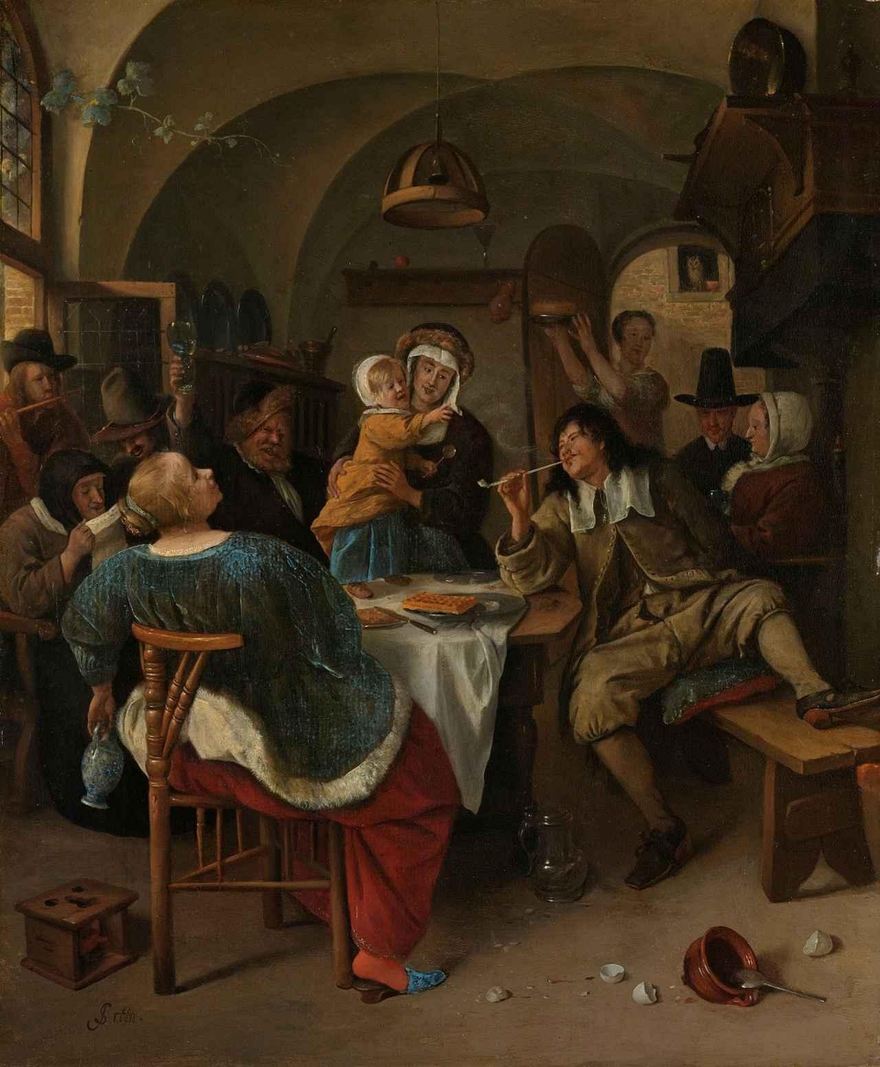 画像: ヤン・ステーン《家族の情景》1665-1675年頃 アムステルダム国立美術館 Rijksmuseum. On loan from the City of Amsterdam (A. van der Hoop Bequest)