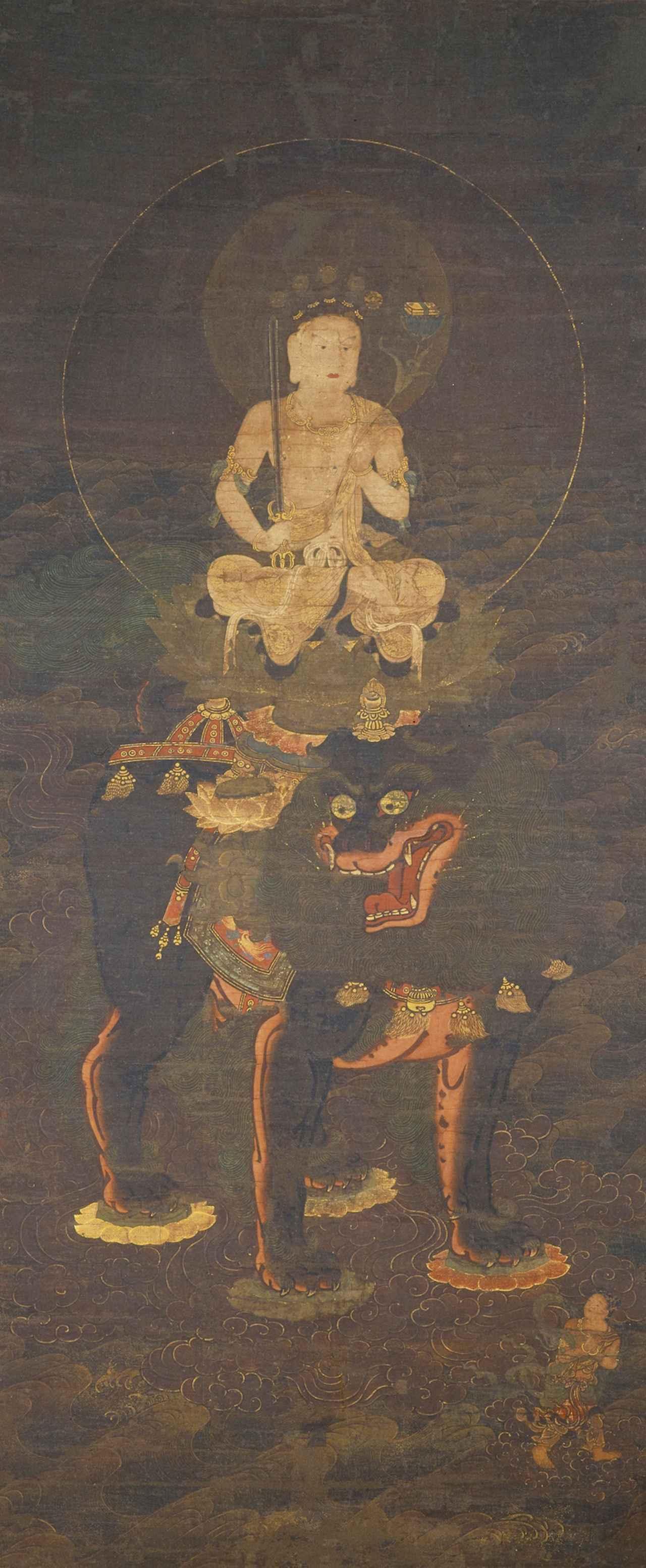 画像: 文殊菩薩渡海図 鎌倉時代・14世紀 泉屋博古館所蔵