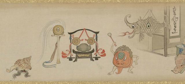 画像: 山本光一 「滑稽百鬼夜行絵巻」(部分) 国際日本文化研究センター蔵 《1期》《2期》《3期》《4期》