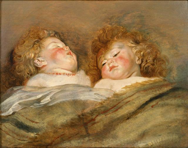 画像: 《眠るふたりの子供》 ペーテル・パウル・ルーベンス 1612-13 年頃 油彩/板 東京、国立西洋美術館