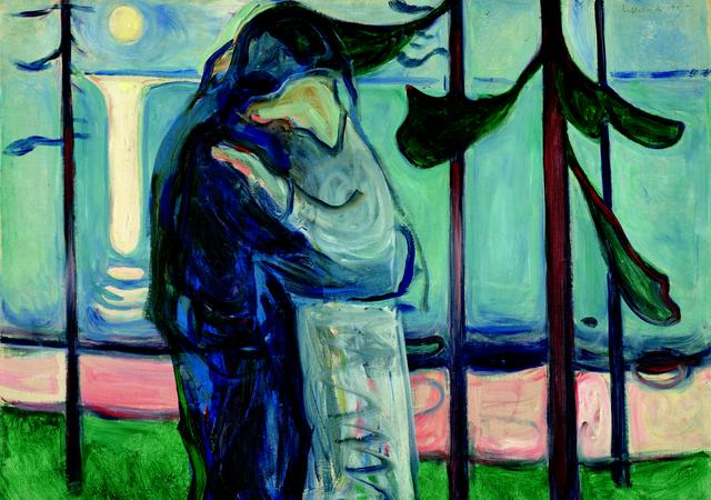 画像: エドヴァルド・ムンク《月明かり、浜辺の接吻》1914 年 油彩、カンヴァス 77×100.5cm .