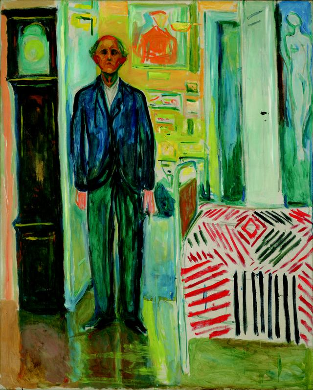 画像: エドヴァルド・ムンク《自画像、時計とベッドの間》1940-43 年 油彩、カンヴァス 149.5×120.5cm .