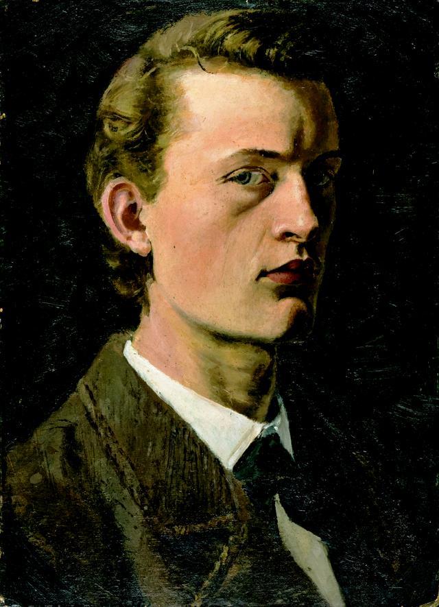 画像: エドヴァルド・ムンク《自画像》1882 年 油彩、紙(厚紙に貼付) 26.5×19.5cm .