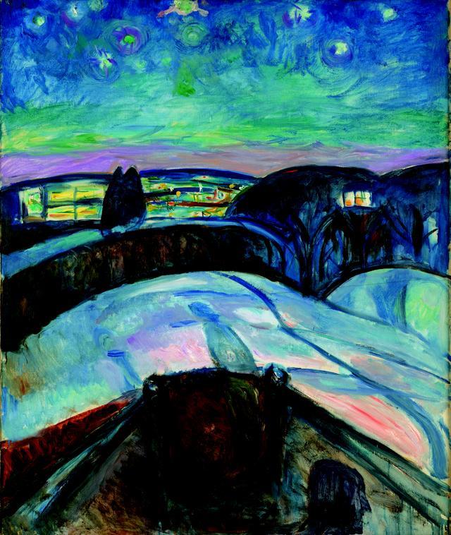 画像: エドヴァルド・ムンク《星月夜》1922-24年 油彩、カンヴァス 120.5×100.5cm *作品はすべてオスロ市立ムンク美術館所蔵 All Photpgraphs © Munchmuseet