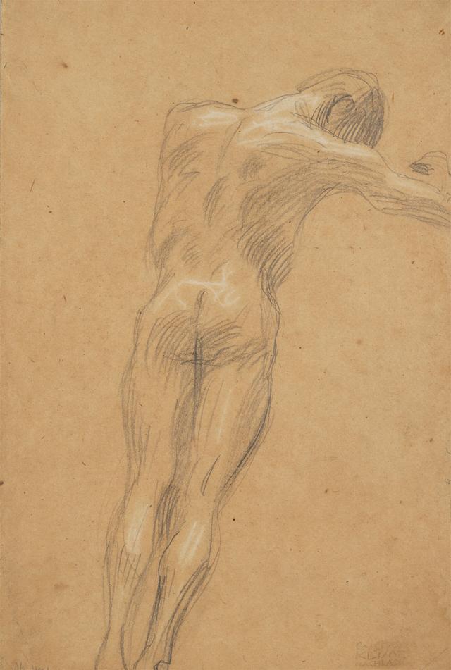 画像: グスタフ・クリムト《右向きの浮遊する男性裸像》(ウィーン大学大広間天井画《哲学》のための習作)1897-99年 京都国立近代美術館