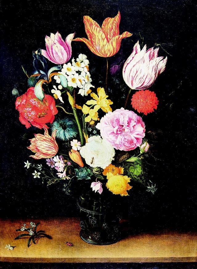 画像: ヤン・ブリューゲル1世、ヤン・ブリューゲル2世「机上の花瓶に入ったチューリップと薔薇」 1615-1629年頃 Private Collection