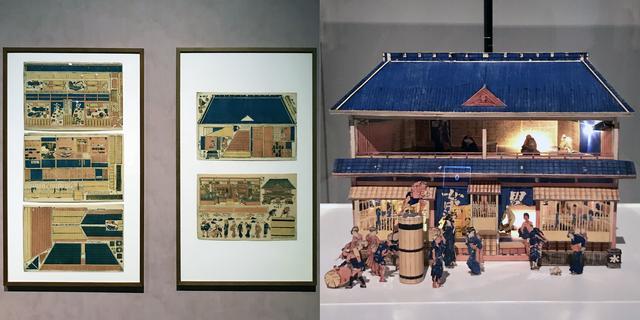 画像: 左:「しん板くミあけとうろふゆやしんミセのづ」 横大判5枚 文化中期(1807~12)頃 島根県立美術館(永田コレクション) (2月18日までの展示) 右:左図を組み上げた立体模型 photo©cinefil