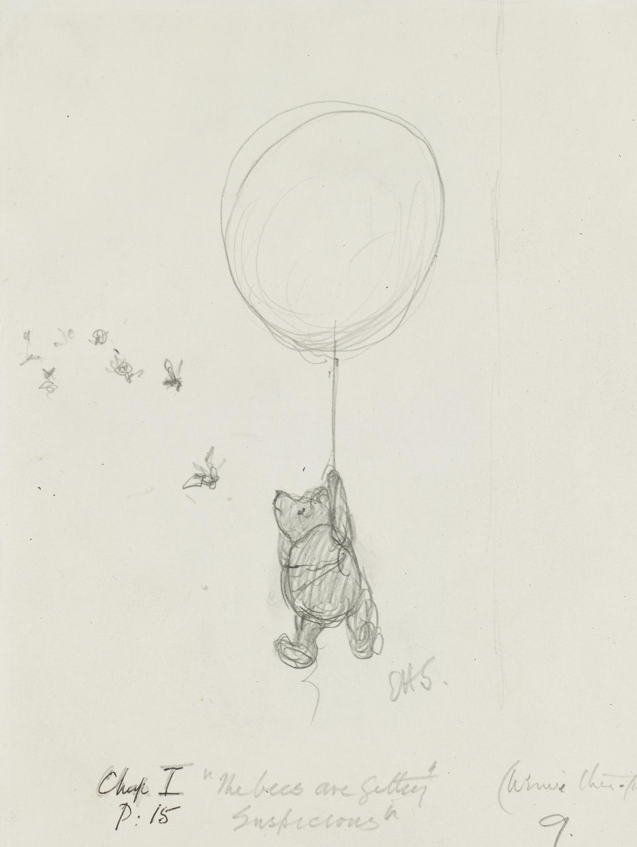 画像: 「ハチのやつ、なにか、うたぐってるようですよ」、『クマのプーさん』第1章、 E.H.シェパード、鉛筆画、1926年、V&A所蔵 © The Shepard Trust