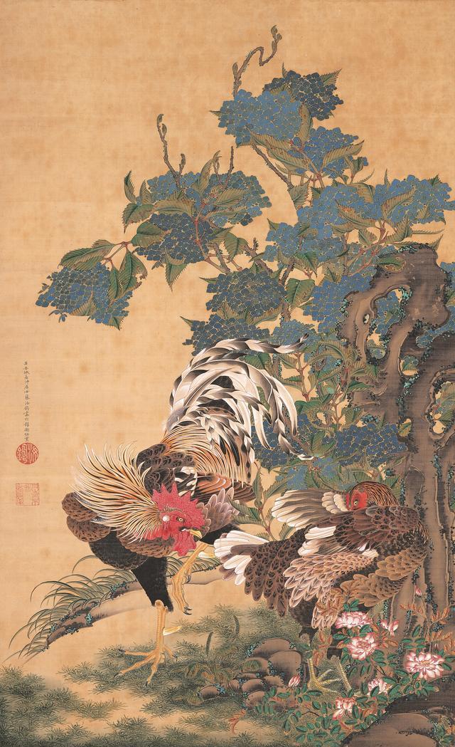 画像: 伊藤若冲 《紫陽花双鶏図》 絹本着色 一幅 139.4×85.1cm 米国・エツコ&ジョー・プライスコレクション