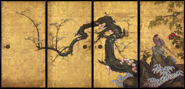 画像: 狩野山雪 《梅花遊禽図襖》 紙本金地着色 四面 各184.0×94.0cm 寛永8年(1631) 京都・天球院 重要文化財