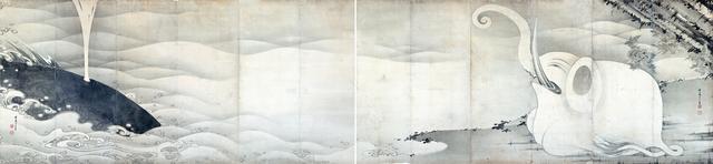 画像: 伊藤若冲 《象と鯨図屛風》 紙本墨画 六曲一双 各159.4×354.0cm 寛政9年(1797) 滋賀・MIHO MUSEUM