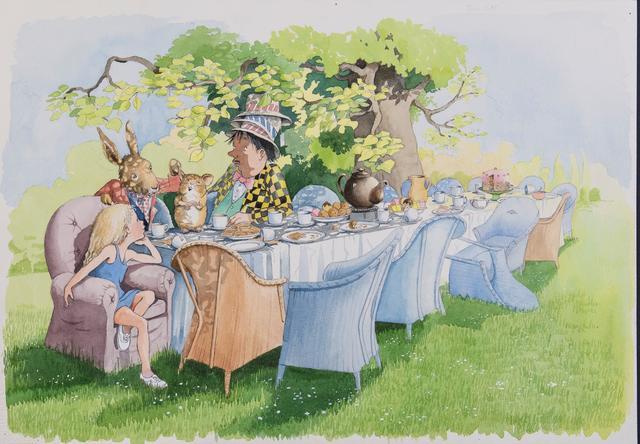 画像: ヘレン・オクセンバリー 「『不思議の国のアリス』 第 7章より 《へんなお茶会》」©Helen Oxenbury