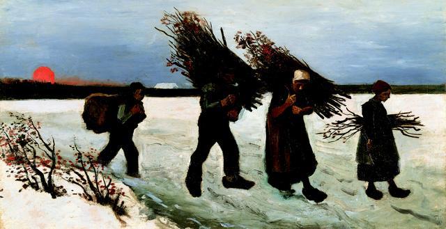 画像: フィンセント・ファン・ゴッホ《雪原で薪を運ぶ人々》 1884年 油彩/カンヴァス(板に貼付) 吉野石膏コレクション