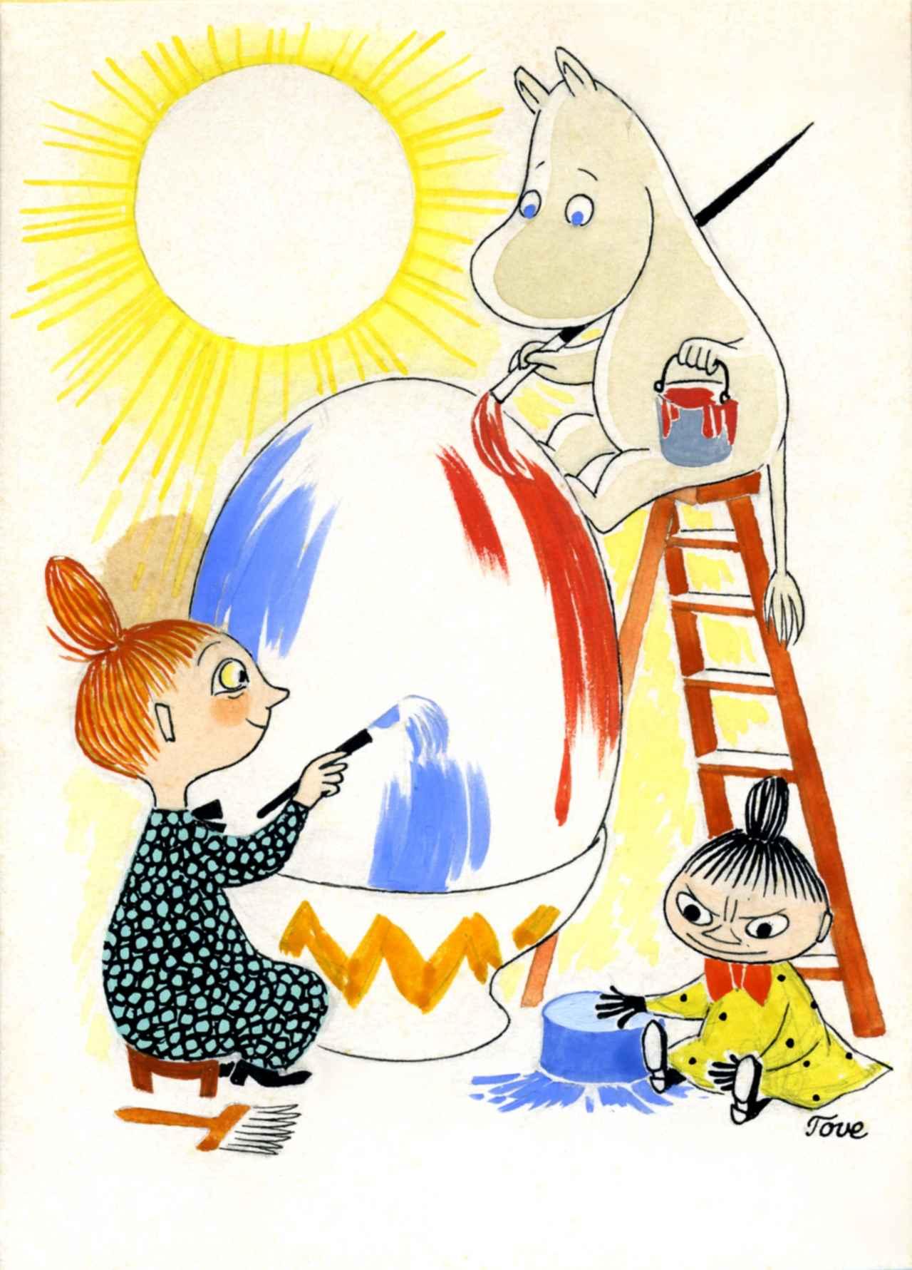 画像: トーベ・ヤンソン《イースターカード  原画》1950年代 グワッシュ、インク・紙 ムーミンキャラクターズ社 ©Moomin Characters ™