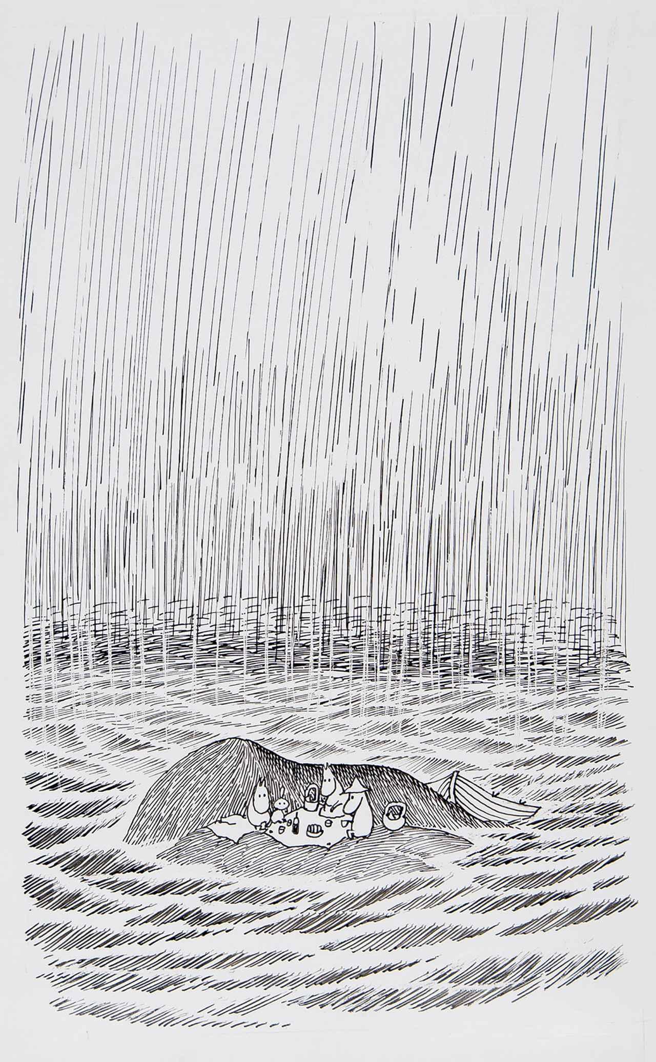 画像: トーベ・ヤンソン《「ムーミンパパ海へいく」挿絵》1965年、インク・紙 ムーミン美術館 ©Moomin Characters ™