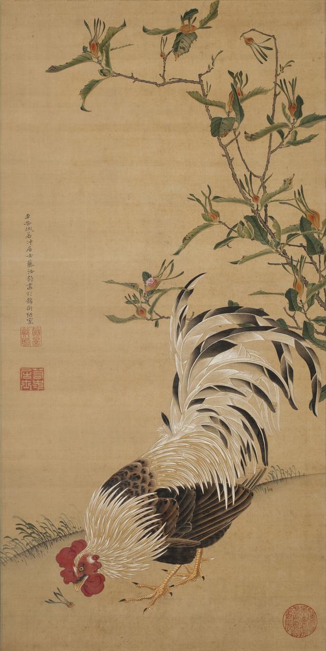 画像: 伊藤若冲 《梔子雄鶏図》 絹本着色 一幅 85.8×43.1cm 個人蔵