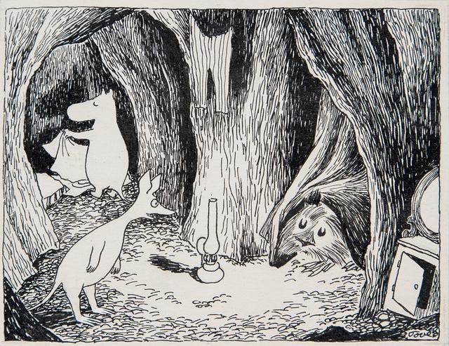 画像: トーベ・ヤンソン《「ムーミン谷の彗星」挿絵》1946年、1968年(改作) インク・紙 ムーミン美術館 ©Moomin Characters ™