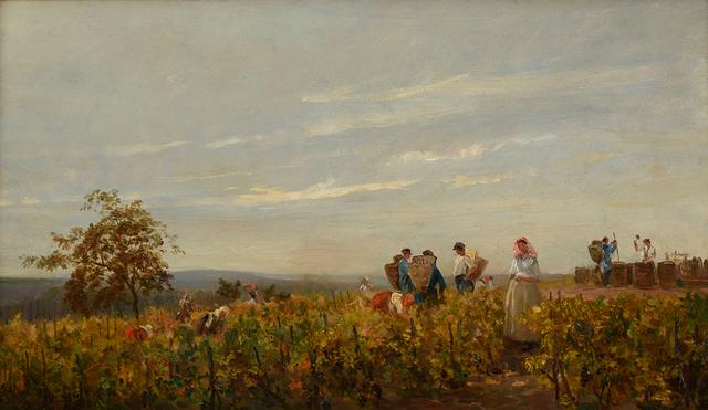 画像: シャルル=フランソワ・ドービニー《ブドウの収穫》1863年頃 油彩/板 24.5×42.3cm フランス、個人蔵 © Christian Devleeschauwer