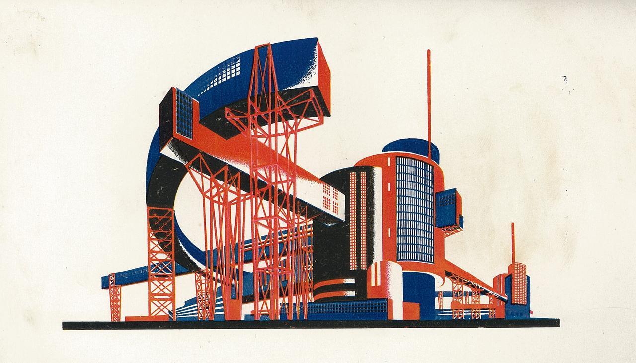 画像: ヤーコフ・チェルニホフ、『建築ファンタジー 101 のカラー・コンポジション、101 の建築小図』より、書籍、1933 年、個人蔵