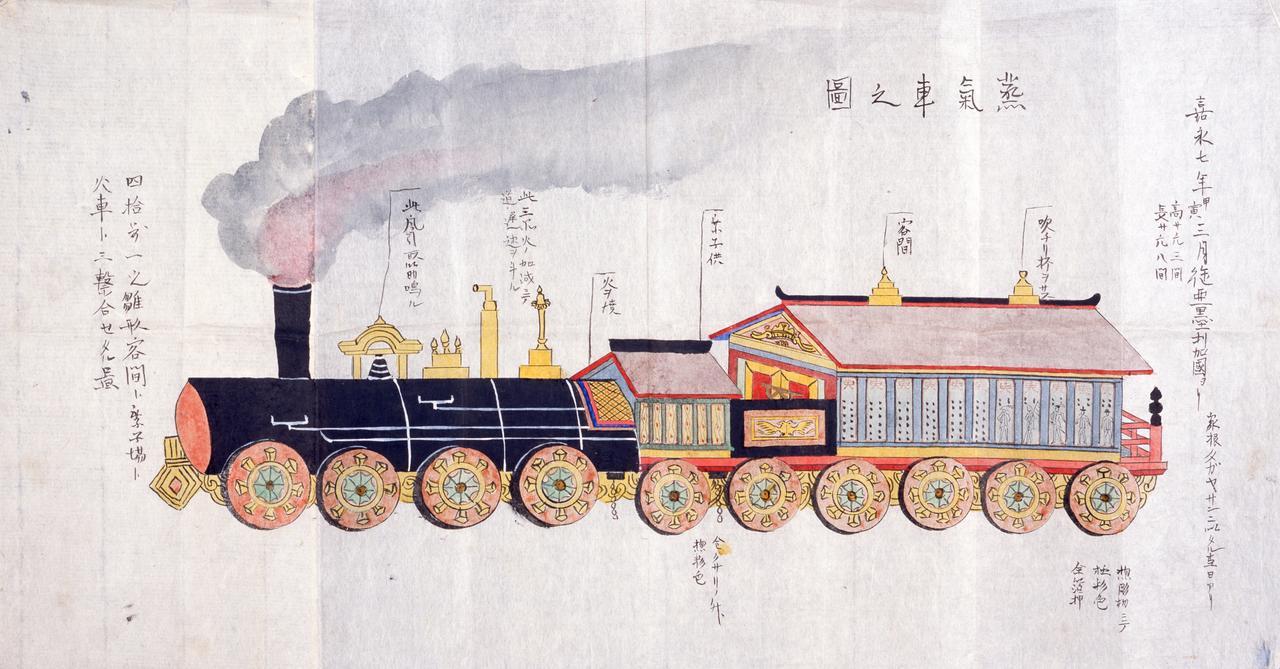 画像: 「ペリー舶載汽車模型之図」 嘉永7年(1854)3月 東京都江戸東京博物館蔵