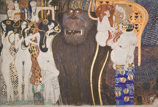画像1: グスタフ・クリムト《ベートーヴェン・フリーズ》(部分)1984年(原寸大複製/オリジナルは1901-1902年) 216×3438㎝ ベルヴェデーレ宮オーストリア絵画館 © Belvedere, Vienna, Photo: Johannes Stoll