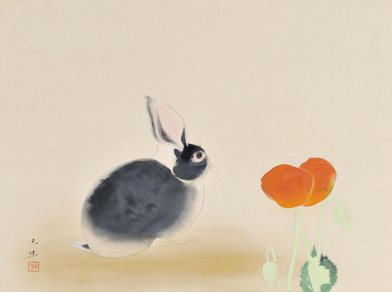 画像: 奥村土牛《兎》1947(昭和22)年頃 絹本・彩色 山種美術館 58歳頃作
