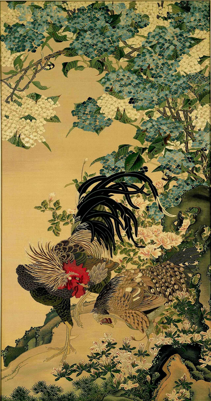 画像: 2代川島甚兵衞 《紫陽花双鶏図 綴織額》 明治35年(1902) 川島織物文化館(後期)