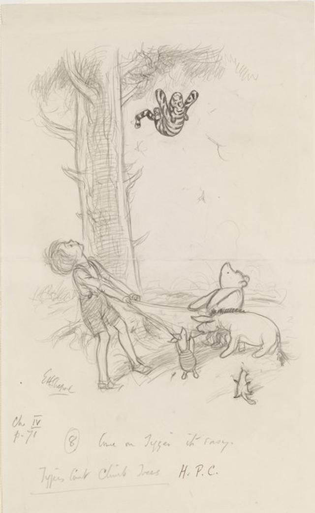 画像: 「おいでよ、トラー、やさしいよ」、『プー横丁にたった家』第4章、E.H.シェパード、鉛筆画、1928年、V&A所蔵 © The Shepard Trust. Image courtesy of the Victoria and Albert Museum, London